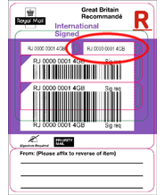 royal mail tracking International Signed - Post Office® label