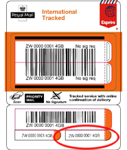 royal mail tracking International Tracked - business label