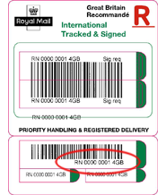 royal mail tracking International Tracked & Signed - business label